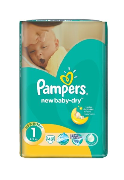 Pampers Еднократни пелени - памперси за новородени S1 Newborn  /2-5 кг./ 43/44 бр. 0201704